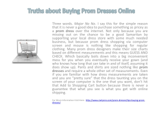 Truths about Buying Prom Dresses Online