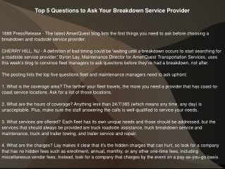 Top 5 Questions to Ask Your Breakdown Service Provider