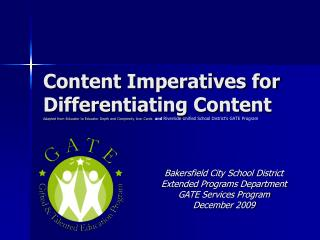 Content Imperatives for Differentiating Content Adapted from Educator to Educator Depth and Complexity Icon Cards  and R