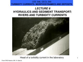 LECTURE 6 HYDRAULICS AND SEDIMENT TRANSPORT: RIVERS AND TURBIDITY CURRENTS