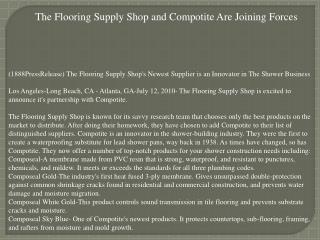 The Flooring Supply Shop and Compotite Are Joining Forces