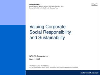 Valuing Corporate  Social Responsibility  and Sustainability