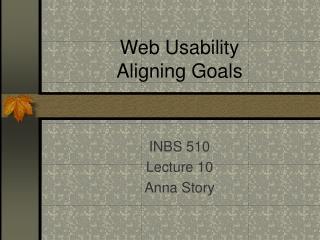 Web Usability Aligning Goals