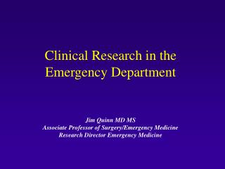 Clinical Research in the Emergency Department