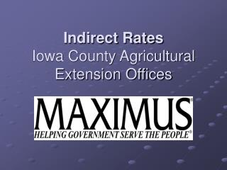 Indirect Rates Iowa County Agricultural Extension Offices