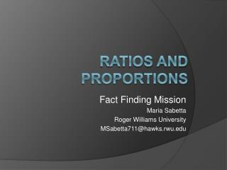 Ratios and Proportions