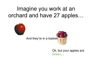 Imagine you work at an orchard and have 27 apples