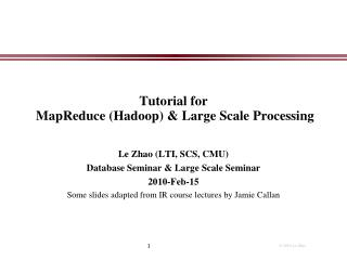 Tutorial for  MapReduce Hadoop  Large Scale Processing