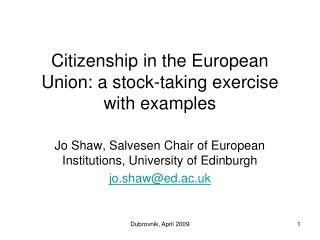 Citizenship in the European Union: a stock-taking exercise with examples