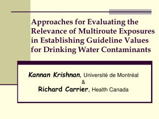 Approaches for Evaluating the Relevance of Multiroute Exposures in Establishing Guideline Values for Drinking Water Cont