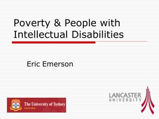 Poverty  People with Intellectual Disabilities