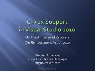 C0x Support in Visual Studio 2010