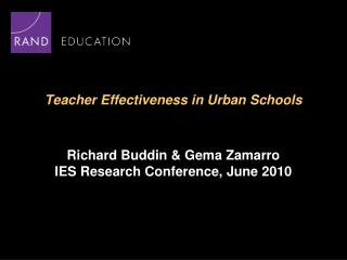 Teacher Effectiveness in Urban Schools