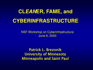 CLEANER, FAME, and  CYBERINFRASTRUCTURE