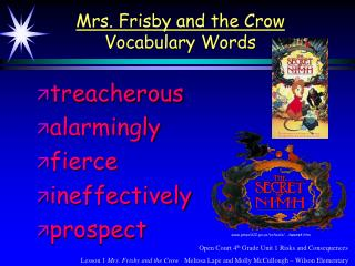 Mrs. Frisby and the Crow Vocabulary Words
