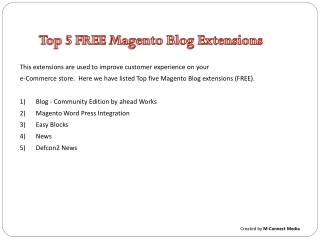 Top Five Free Magento Blog Tool Extensions