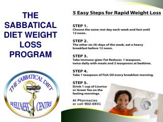 THE SABBATICAL DIET WEIGHT LOSS PROGRAM