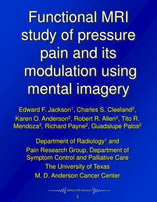 Functional MRI study of pressure pain and its  modulation using mental imagery