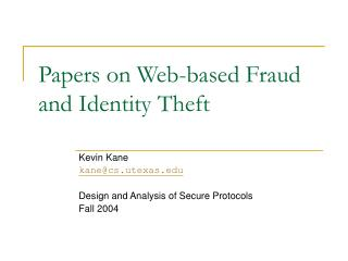 Papers on Web-based Fraud and Identity Theft