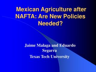 Mexican Agriculture after NAFTA: Are New Policies Needed