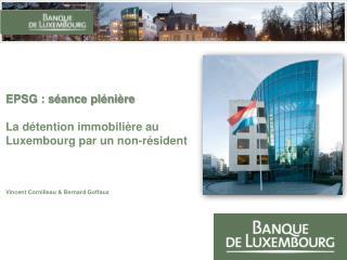 EPSG : s ance pl ni re   La d tention immobili re au Luxembourg par un non-r sident    Vincent Cornilleau  Bernard Goffa