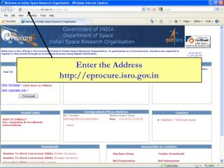 Enter the Address eprocure.isro