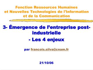 Fonction Ressources Humaines et Nouvelles Technologies de lInformation  et de la Communication