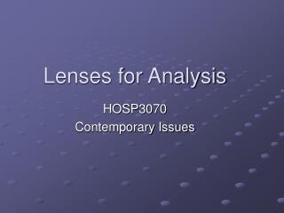 Lenses for Analysis