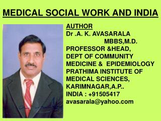 MEDICAL SOCIAL WORK AND INDIA