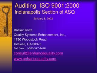 Auditing  ISO 9001:2000  Indianapolis Section of ASQ               January 8, 2002