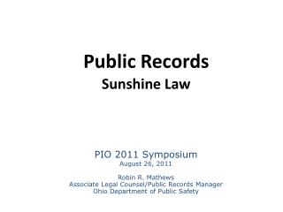 Public Records  Sunshine Law