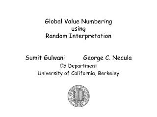 Global Value Numbering  using Random Interpretation