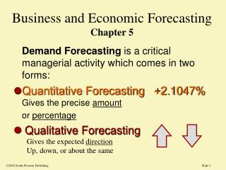 Business and Economic Forecasting Chapter 5