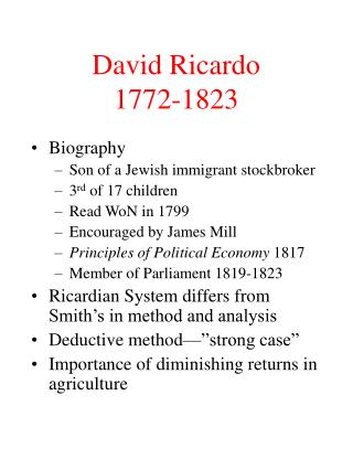 David Ricardo 1772-1823