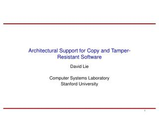 Architectural Support for Copy and Tamper-Resistant Software