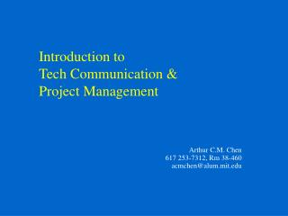 Introduction to Tech Communication  Project Management