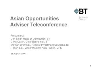 Asian Opportunities Adviser Teleconference