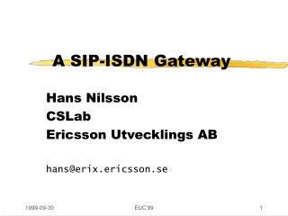 A SIP-ISDN Gateway