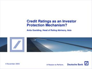 Credit Ratings as an Investor Protection Mechanism