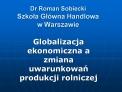 Dr Roman Sobiecki Szkola Gl wna Handlowa w Warszawie