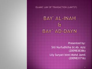 Bay al-Inah    BAY  AD-DAYN