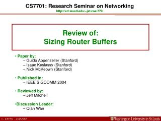 Review of:  Sizing Router Buffers