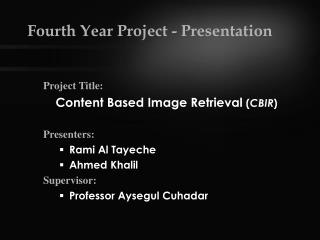 Fourth Year Project - Presentation