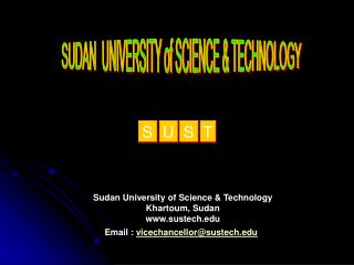 SUDAN  UNIVERSITY of SCIENCE  TECHNOLOGY