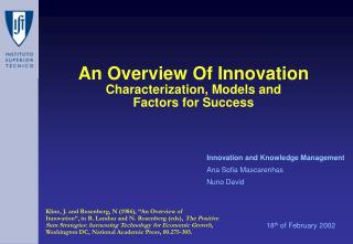 An Overview Of Innovation Characterization, Models and  Factors for Success