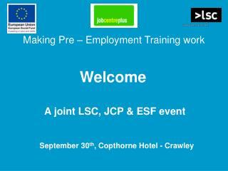 Making Pre   Employment Training work