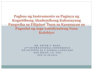 Pagbuo ng Instrumento sa Pagtaya ng Kognitibong Akademikong Kahusayang Pangwika sa Filipino: Tuon sa Kasanayan sa  Pagsu