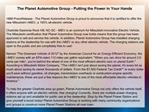 The Planet Automotive Group - Putting the Power in Your Hand