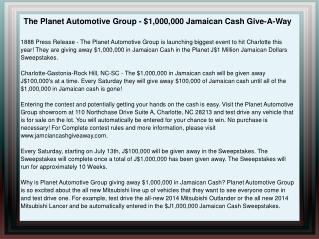 The Planet Automotive Group - $1,000,000 Jamaican Cash Give-