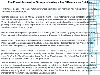 The Planet Automotive Group - Is Making a Big Difference for